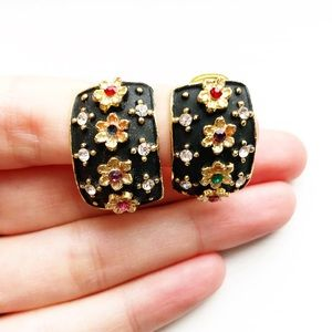 Vintage gold & black paint floral clip-on earrings